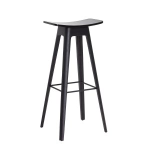 HC1 barstol i højde 80 cm med sæde i sort finér og understel i sort fra andersen furniture