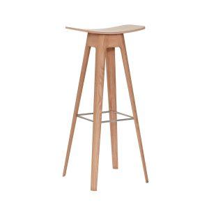 HC1 barstol i højde 80 cm med sæde i egefinér og understel i hvidpigmenteret matlakeret eg fra andersen furniture