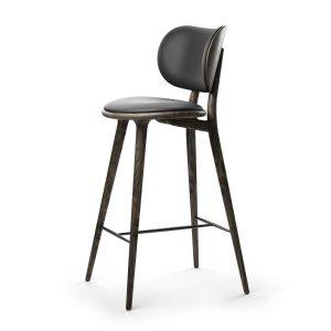 high stool barstol med ryglæn fra mater i sirka grå med sort sæde
