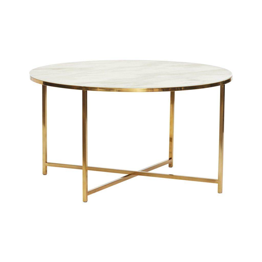 rundt stol med stel i messing og hvid bordplade fra hübsch