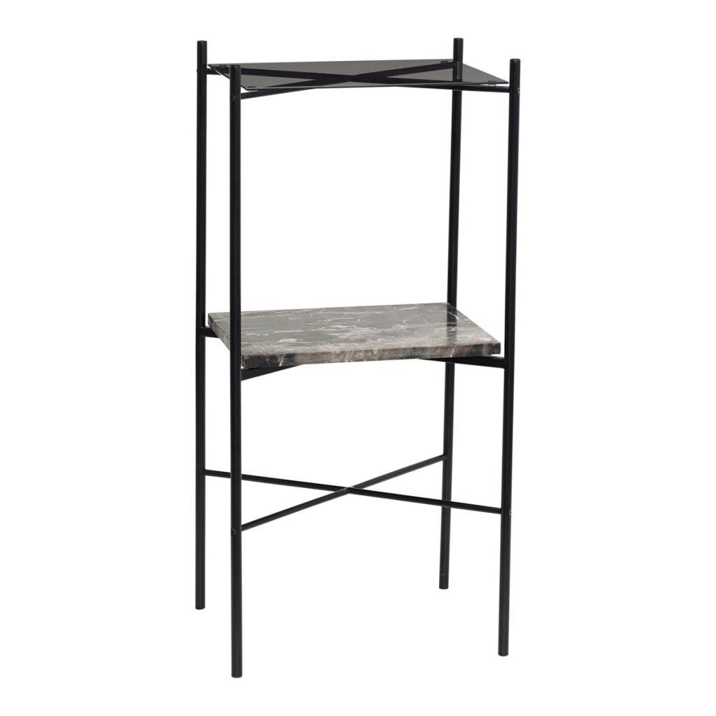 hjørnebord med hylde i metal, marmor og glas fra hübsch