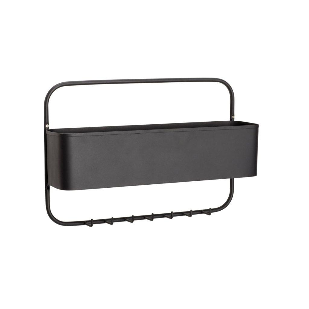 knagerække i sort metal med opbevaring fra hübsch