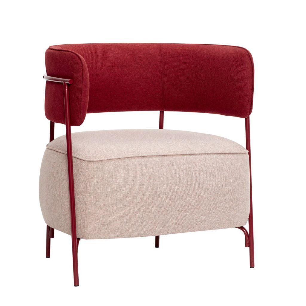 loungestol i lyserød og rød fra hübsch