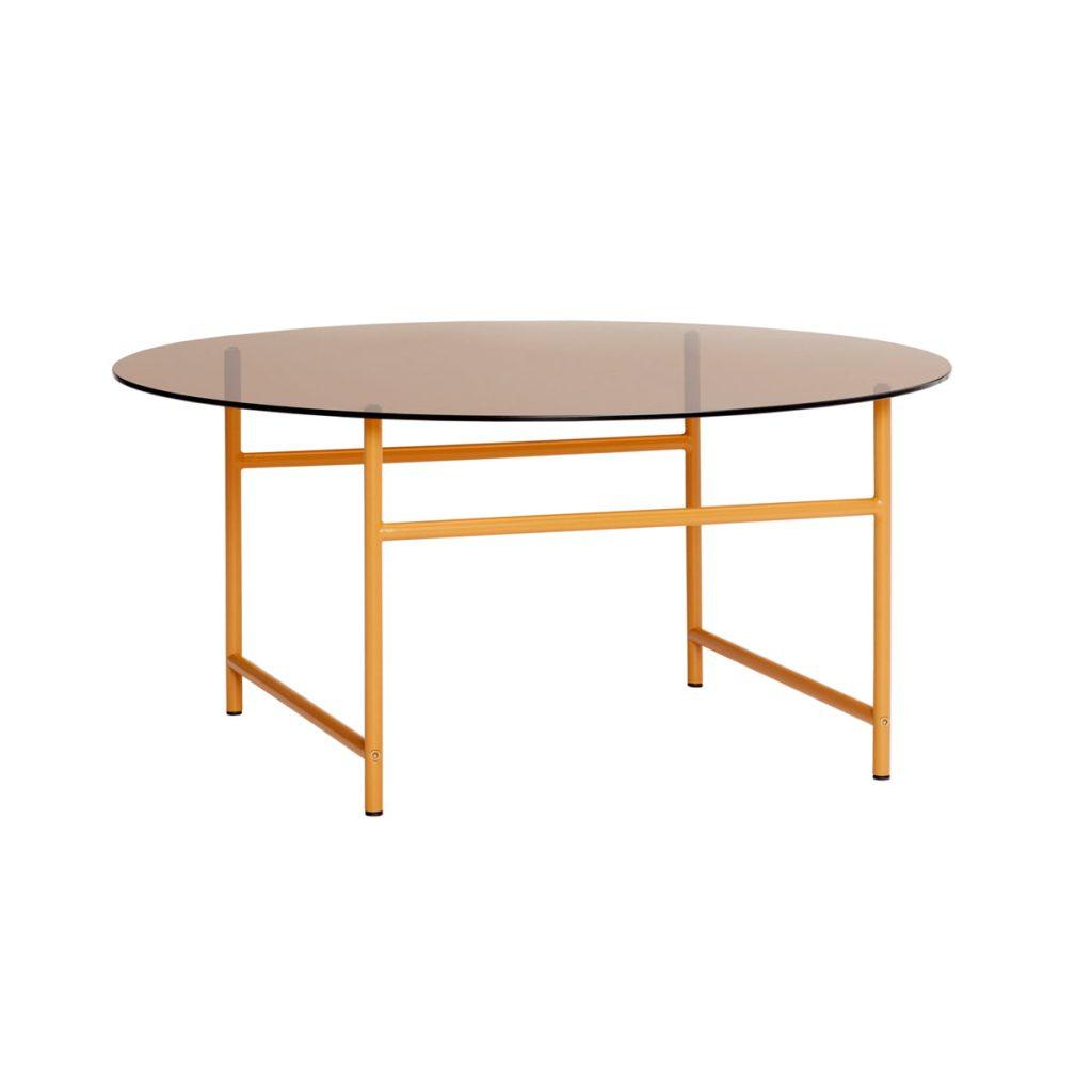 rundt bord med metalben og bordplade glas fra hübsch