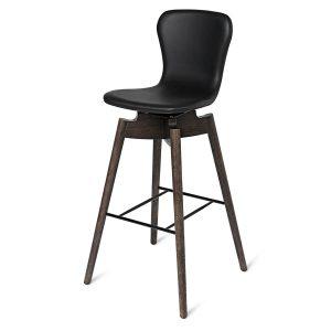 shell bar barstol med ryglæn fra mater i sirka grå og sort