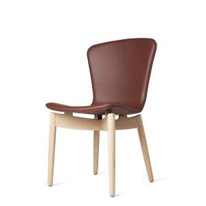 shell spisebordsstol fra mater i mat hvidlakering og ultra cognac