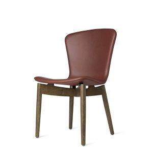 shell spisebordsstol fra mater i sirka grå lakering og ultra cognac