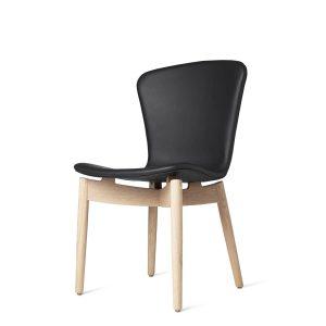 shell spisebordsstol fra mater i mat hvidlakering med sort sæde