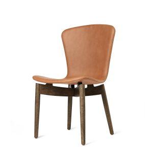 shell spisebordsstol fra mater i sirka grå lakering og ultra brandy