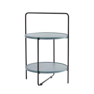 bakkebord Ø46 cm i sort stel og bakker i farven petroleum fra andersen furniture