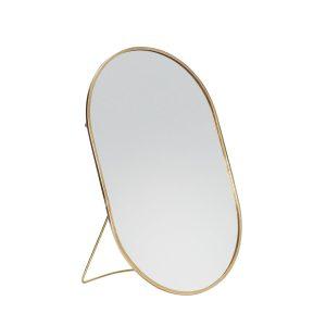 ovalt bordspejl med fod i messing fra hübsch