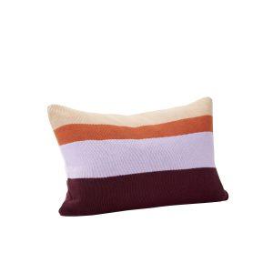 pyntepude med fyld i bomuld oeko-tex i farverne bordeaux, lilla, orange og beige fra hübsch