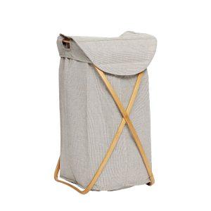 grå vasketøjskurv i stof/bambus fra hübsch