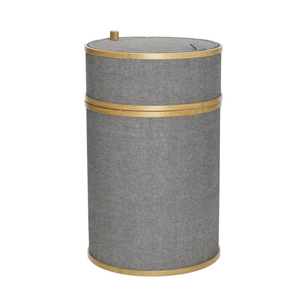 grå vasketøjskurv stof/bambus fra hübsch