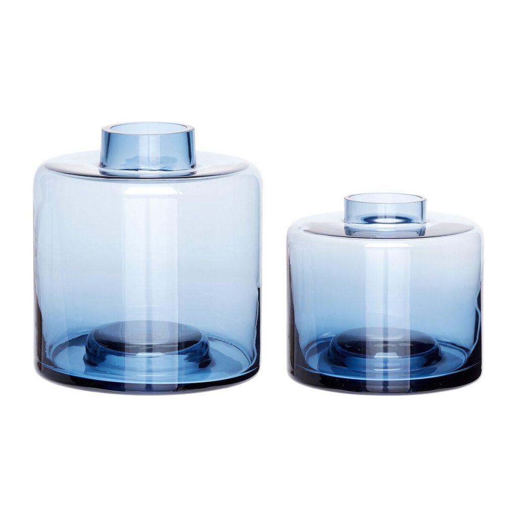 blå glasvaser 2 stk. fra hübsch