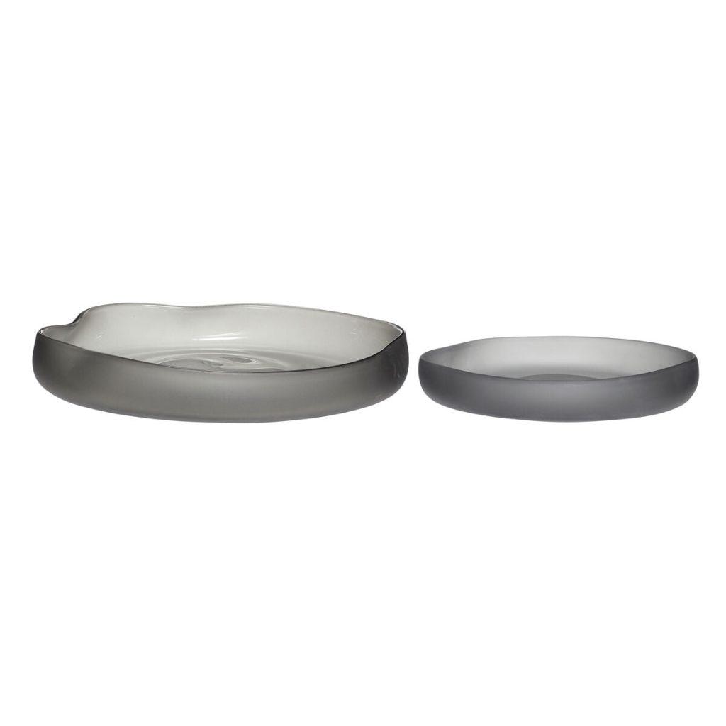 runde fade i røgfarvet glas 2 stk. fra hübsch
