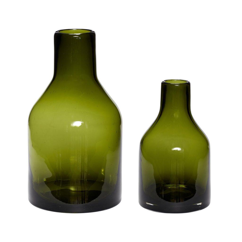 grønne glasvaser 2 stk. fra hübsch