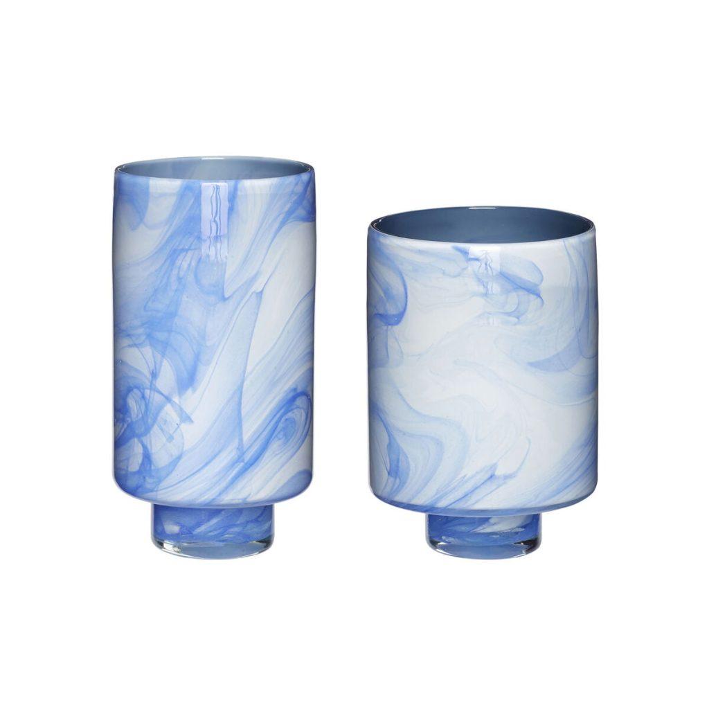blålige og hvidlige glasvaser 2 stk. fra hübsch