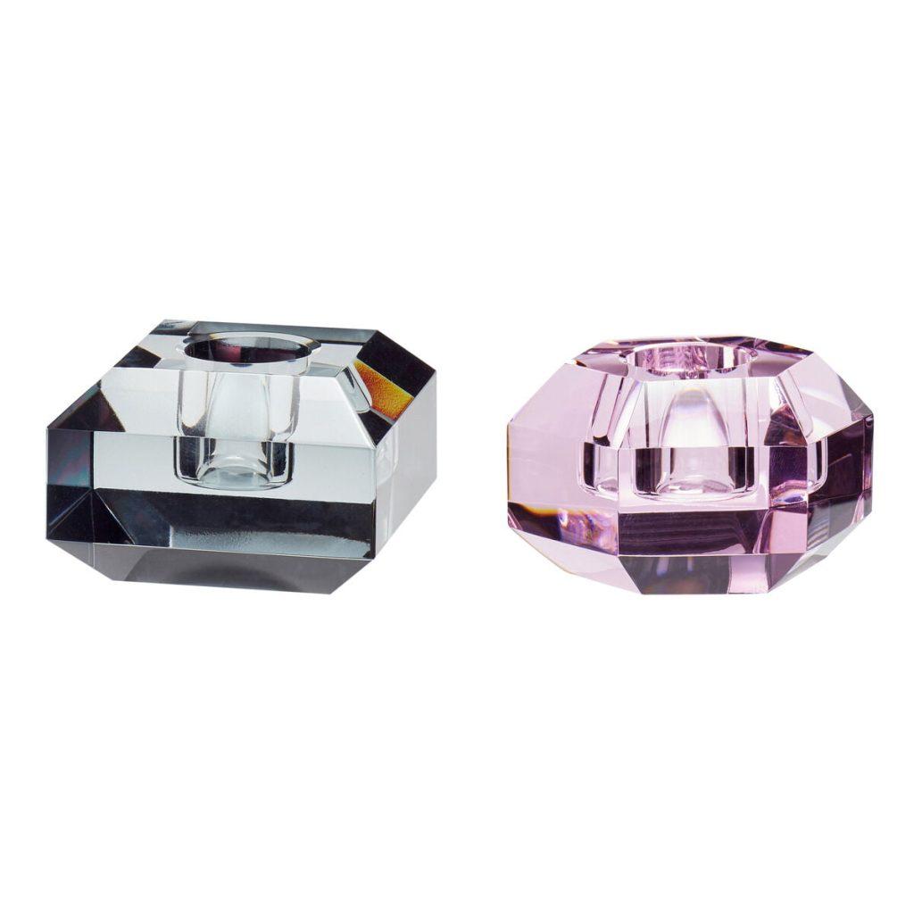 krystallysestager 2-pak med en i pink og en i røgfarvet fra hübsch