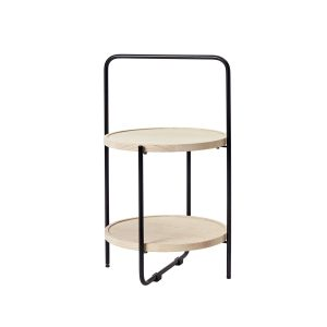 mini tray table bakkebord med sort stel og bakker i natur fra andersen furniture