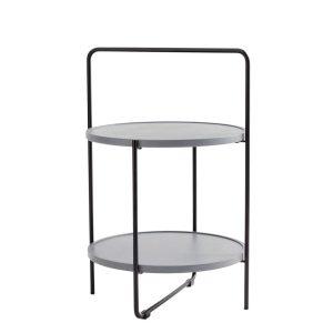 bakkebord Ø46 cm i sort stel og bakker i farven grå fra andersen furniture