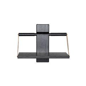 shelf wood wall væghylde i small i sort eg med læderstropper fra andersen furniture