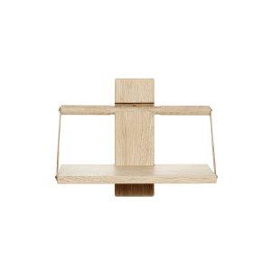 shelf wood wall væghylde i small i eg med læderstropper fra andersen furniture