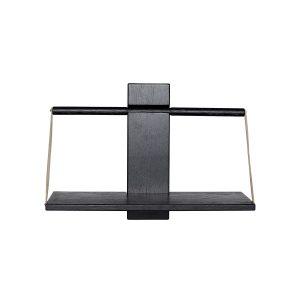 shelf wood wall væghylde i medium i sort eg med læderstropper fra andersen furniture