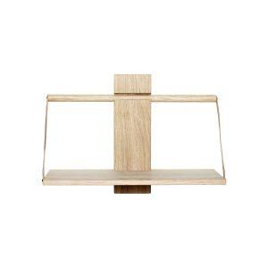 shelf wood wall væghylde i medium i eg med læderstropper fra andersen furniture