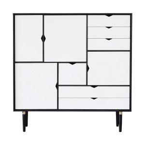 S3 opbevaringsmøbel i sort med hvide fronter fra andersen furniture