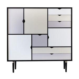 S3 opbevaringsmøbel i sort med flerfarvede fronter fra andersen furniture