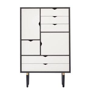 S5 opbevaringsmøbel i sort med hvide fronter fra andersen furniture