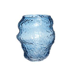 glasvase i blå fra hübsch