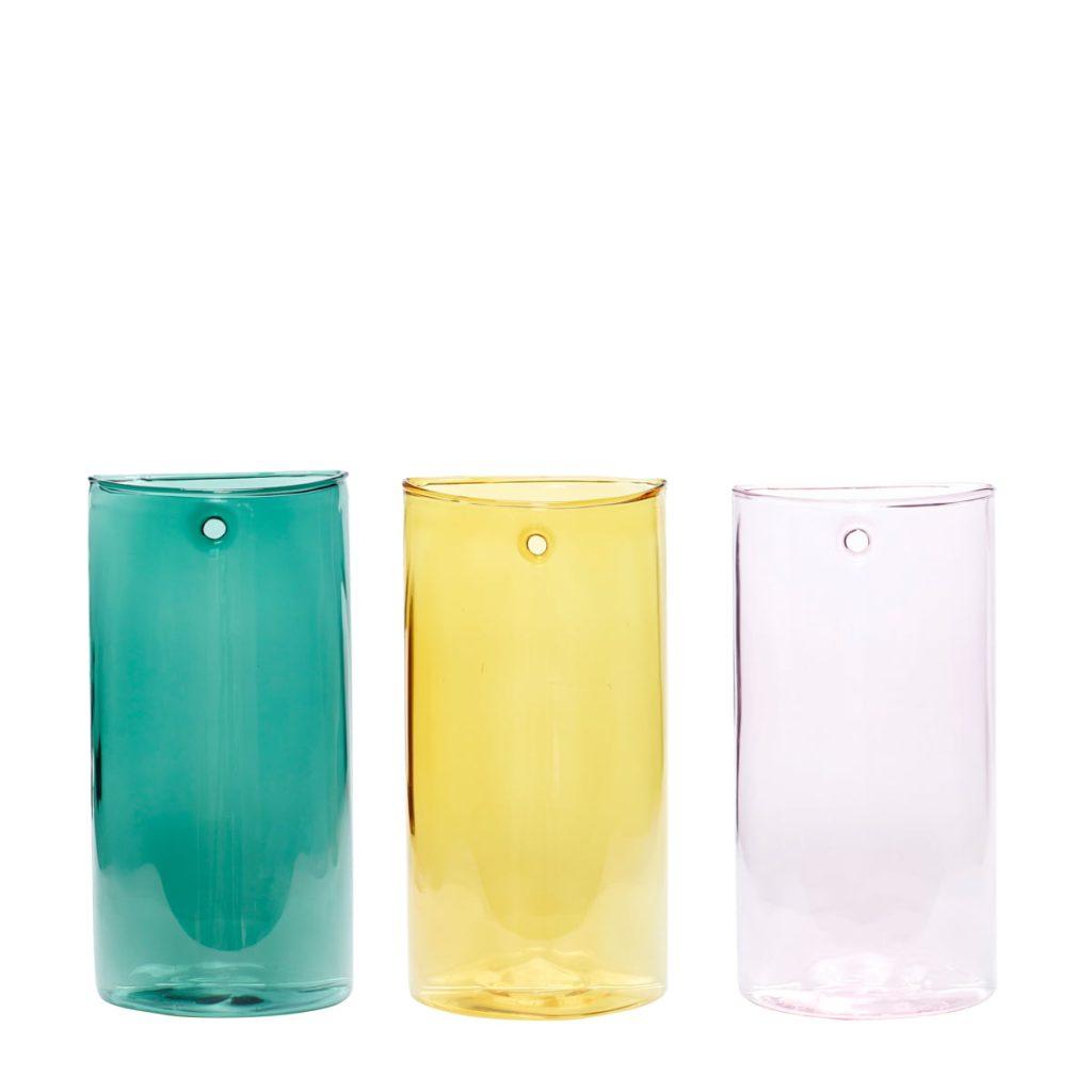 glasvaser i lyserød/gul/grøn 3-pak fra hübsch