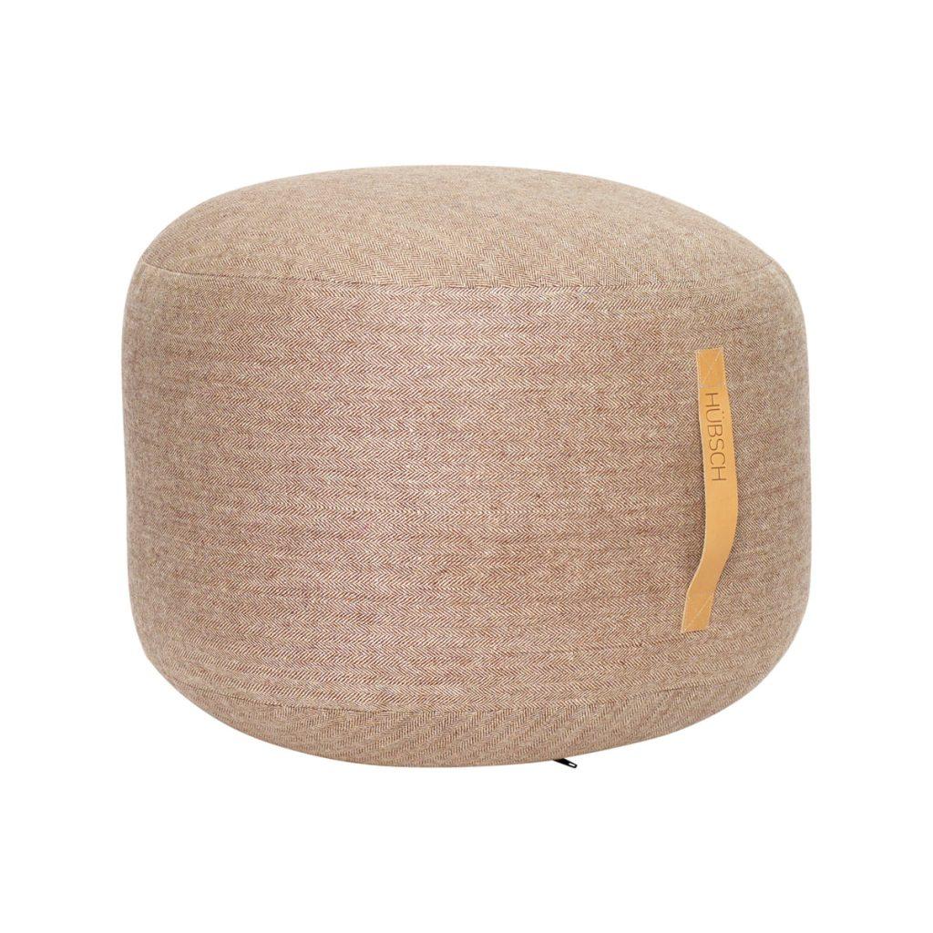 rund puf med læderhank i brun uld fra hübsch