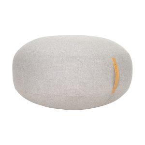 rund puf med læderhank i grå uld