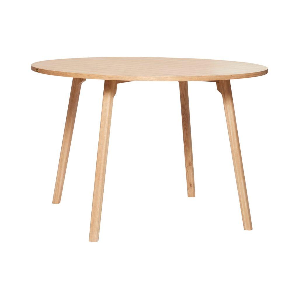 rundt spisebord i egetræ fra hübsch