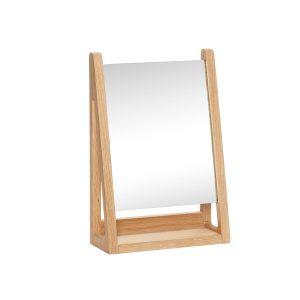 firkantet bordspejl i egetræ