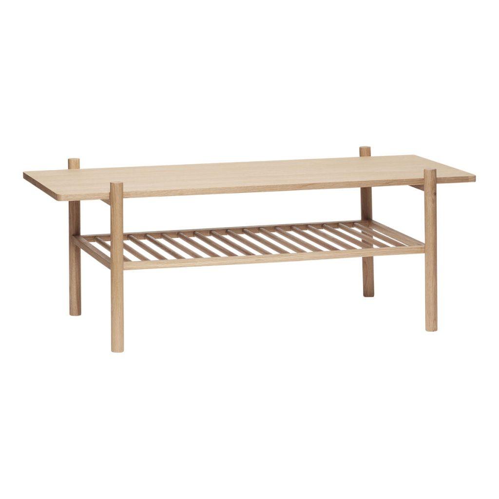 bord i egetræ fsc med hylde fra hübsch