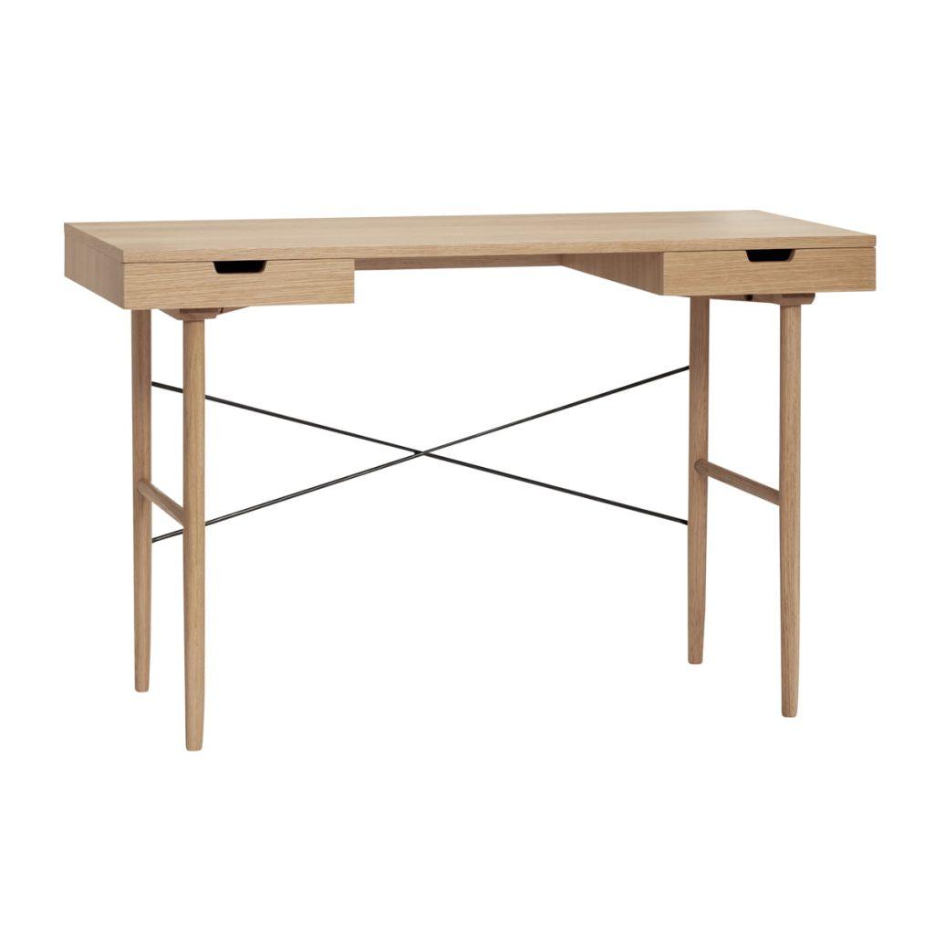 skrivebord med skuffer i egetræ fsc fra hübsch