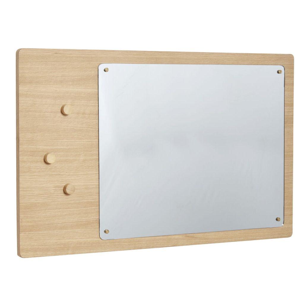 firkantet vægspejl med tavle fra hübsch
