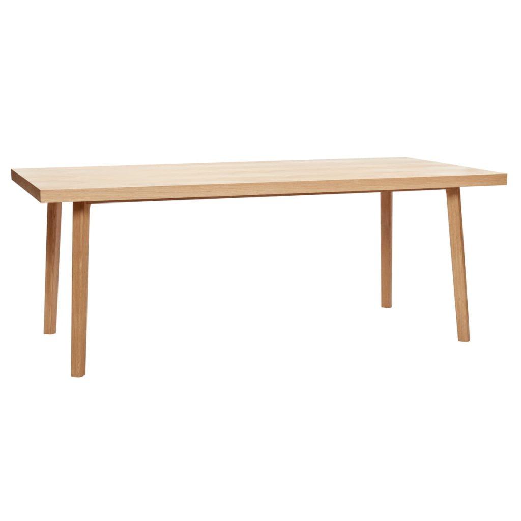 firkantet spisebord i egetræ fsc med sildebensmønster fra hübsch