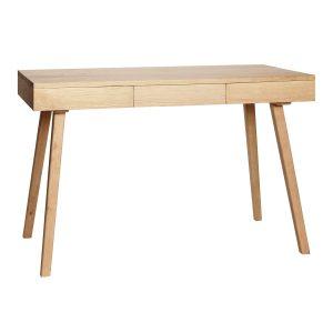 skrivebord med 3 skuffer i egetræ fra hübsch