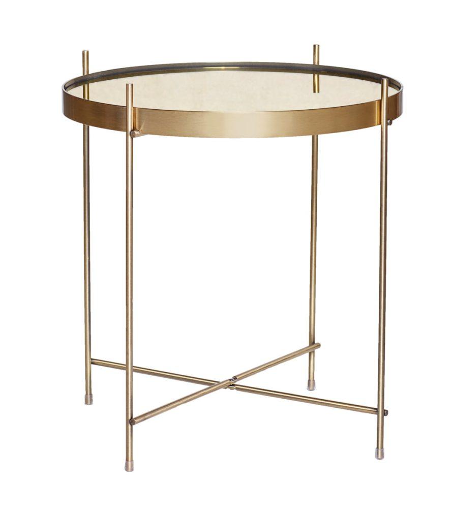 rundt lille bord i messing, metal og med spejl fra hübsch