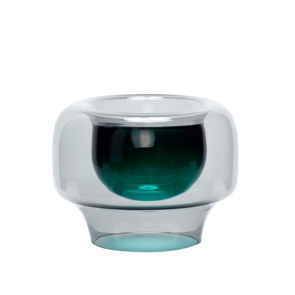 røgfarvet grøn glasvase fra hübsch