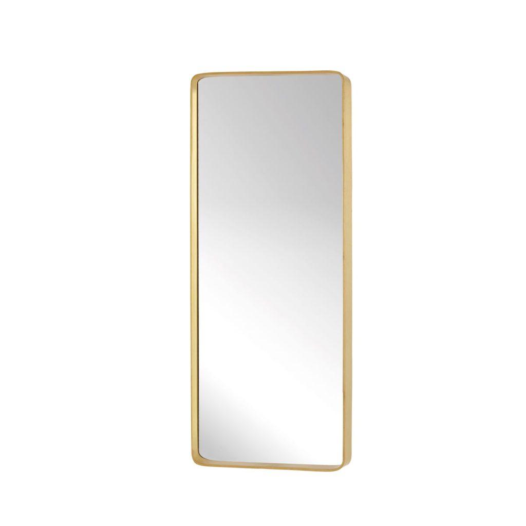 firkantet vægspejl med messing ramme fra hübsch