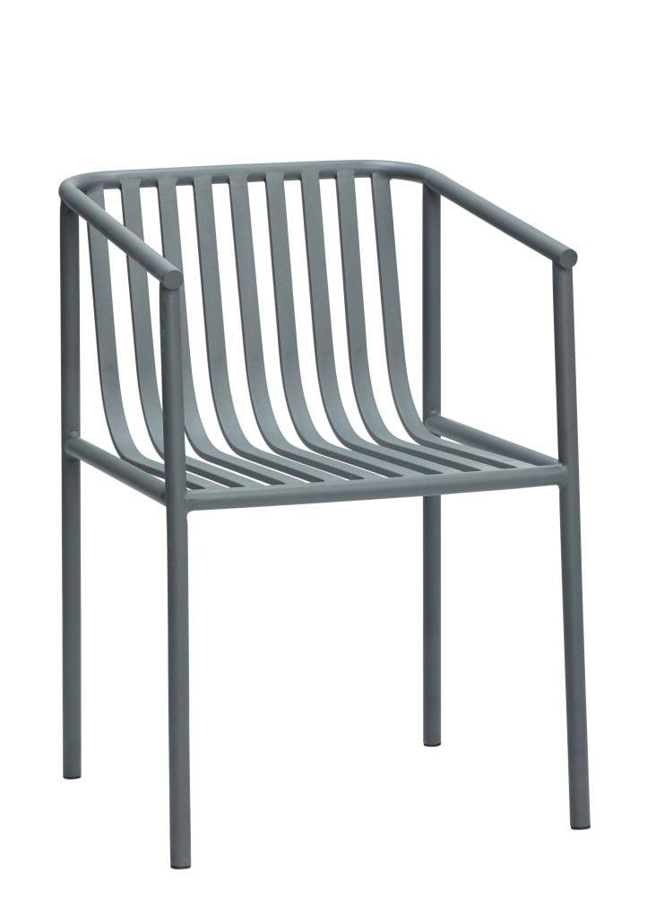 havestol i grå metal fra hübsch