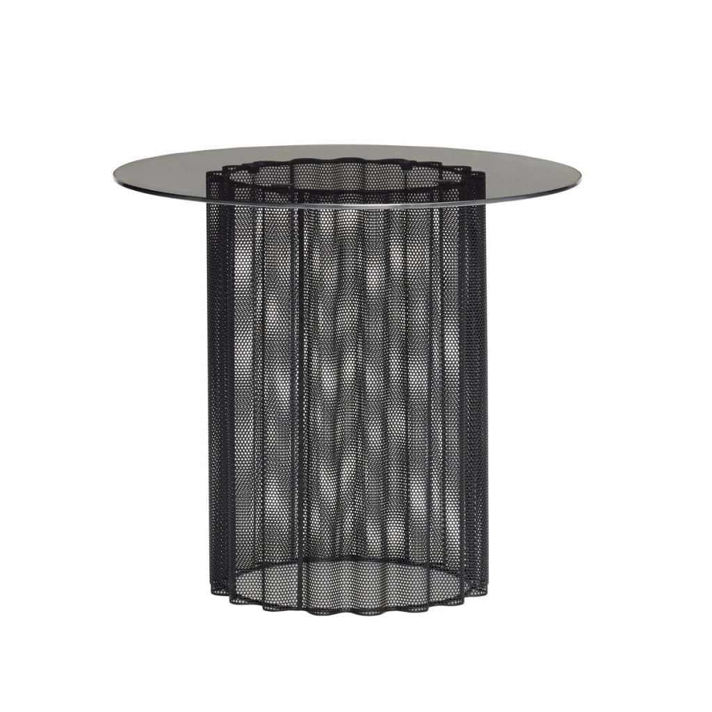 rundt bord i sort metal med bordplade i sort frostet glas fra hübsch
