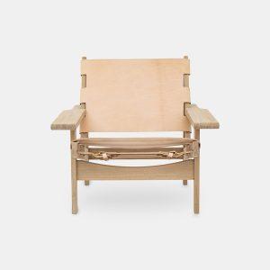 jagtstolen model 168 af kurt østervig i sæbebehandlet eg og sæde og ryg i natur fra klassik studio