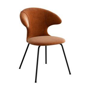 time flies spisebordsstol med sort benstel og sæde i rusty brown fra umage